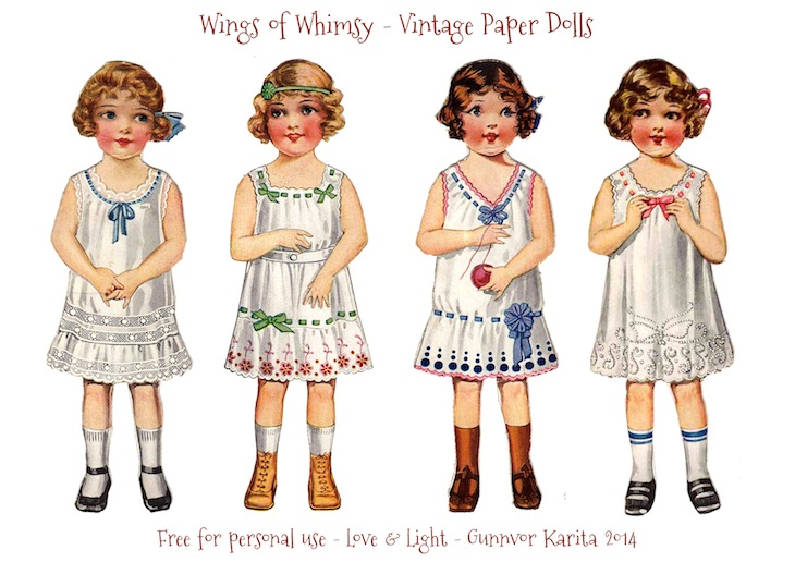 photograph about Printable Vintage Paper Dolls named Basic Paper Doll Angels Portion 1 Wings of Whimsy