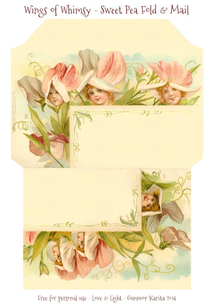 Wings of Whimsy: Sweet Pea Stationery #freebie #printable #ephemera #vintage #stationery