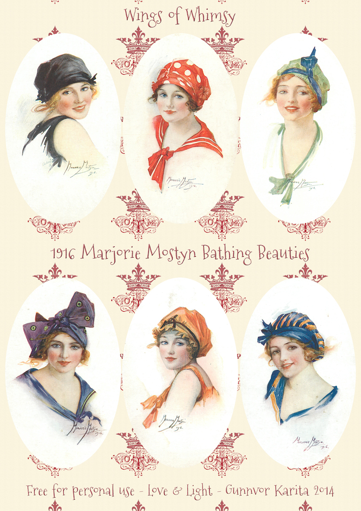 1916 bathing beauties by marjorie mostyn  u2013 printable tags