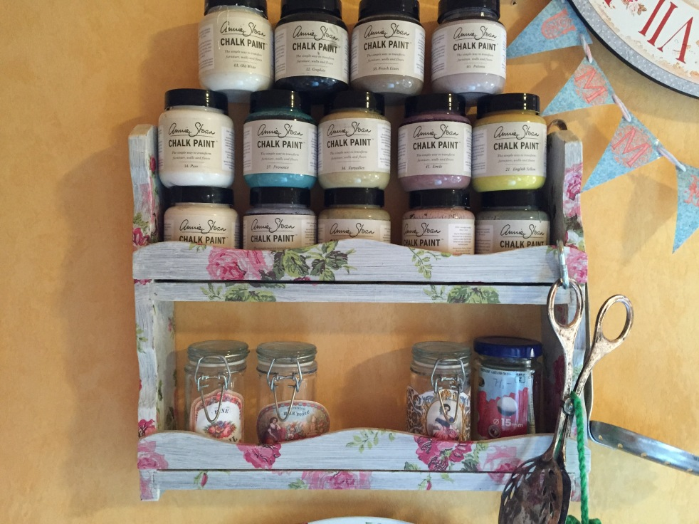 Decoupaged Tiny Shelf August 2014
