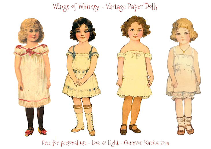graphic about Printable Vintage Paper Dolls referred to as Common Paper Doll Angels Portion 4 Wings of Whimsy