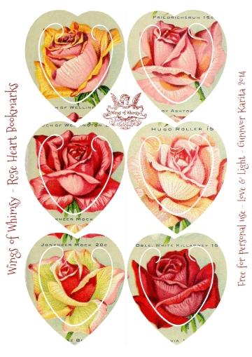Wings of Whimsy: Rose Heart Bookmarks #freebie #printable #ephemera #rose #heart
