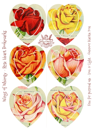 Wings of Whimsy: Rose Heart Bookmarks #freebie #printable #ephemera #rose #heart