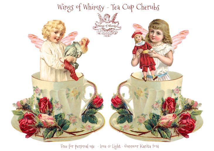 Wings of Whimsy: Tea Cup Cherubs #vintage #ephemera #freebie #printable #tea
