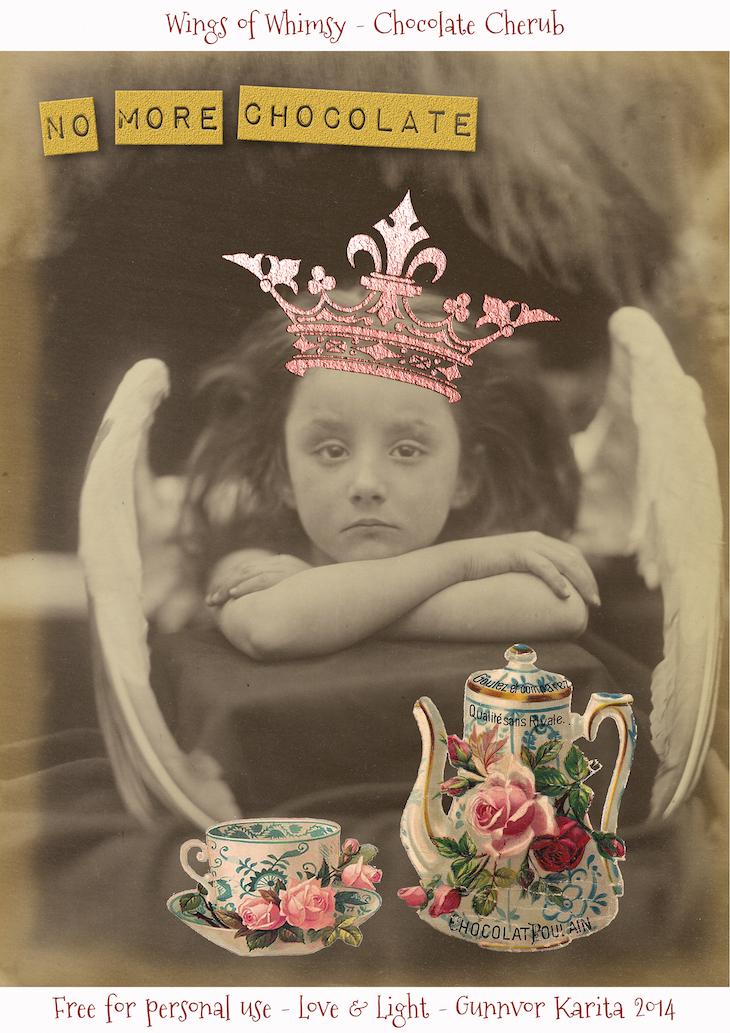 Wings of Whimsy: Chocolate Cherub  #vintage, #ephemera #photo #printable #freebie #cameron