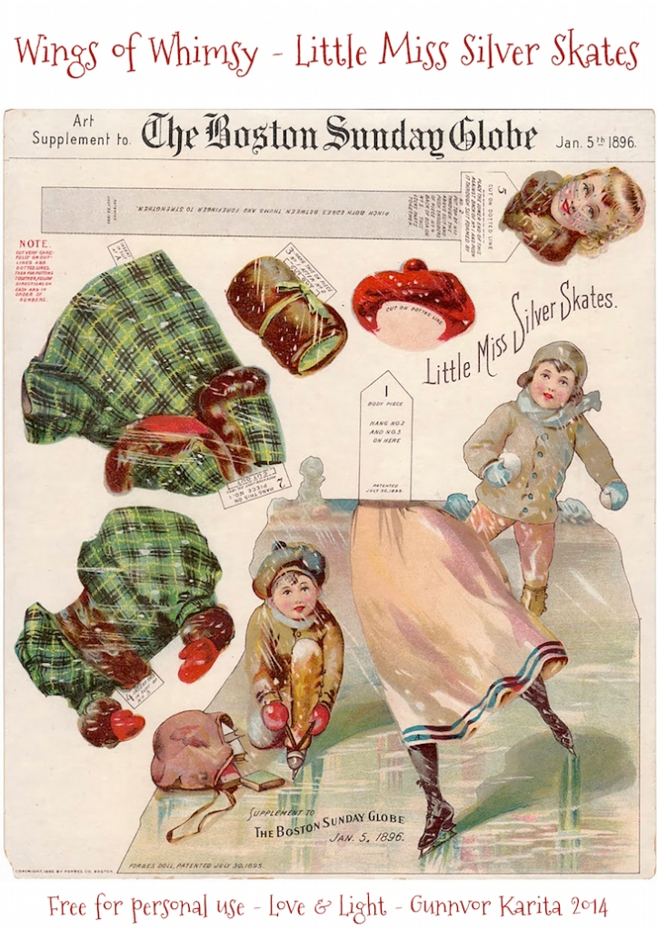 Wings of Whimsy: 1896 Boston Sunday Globe - Little Miss Silver Skates #freebie #printable #ephemera #christmas #victorian
