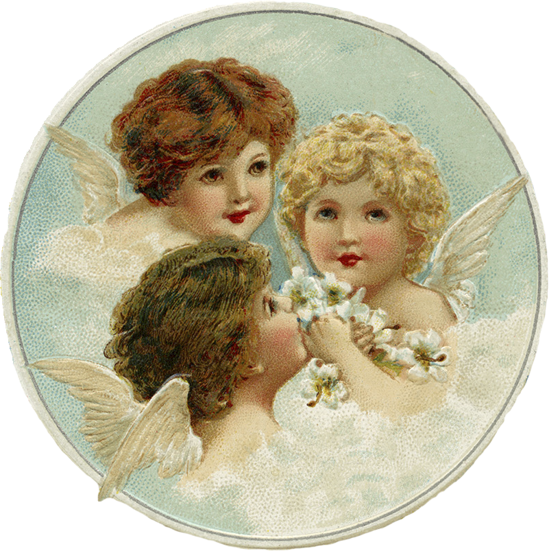 Wings of Whimsy: Sweet Christmas Cherubs - PNG (transparen background) and 2 inch printable collage sheet #vintage #freebie # #printable #postcard #cherub #angel