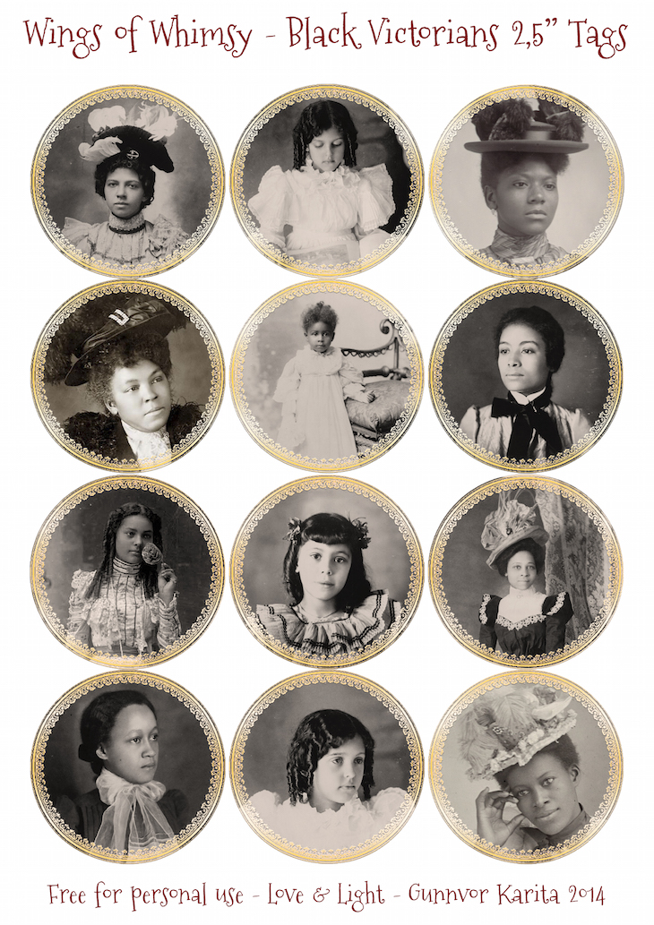 Wings of Whimsy: Black Victorian Beauty Tags #vintage #victorian #freebie #printable #black #african #american #beauty