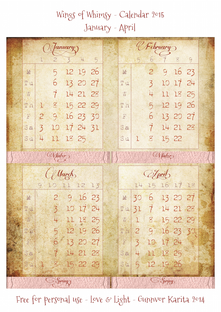 Wings of Whimsy: Calendar 2015 January - April #vintage #victorian #ephemera #freebie #printable #calendar
