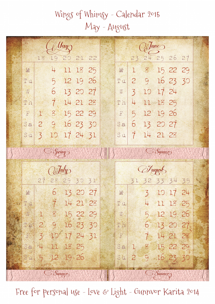 Wings of Whimsy: Calendar 2015 May - August #vintage #victorian #ephemera #freebie #printable #calendar