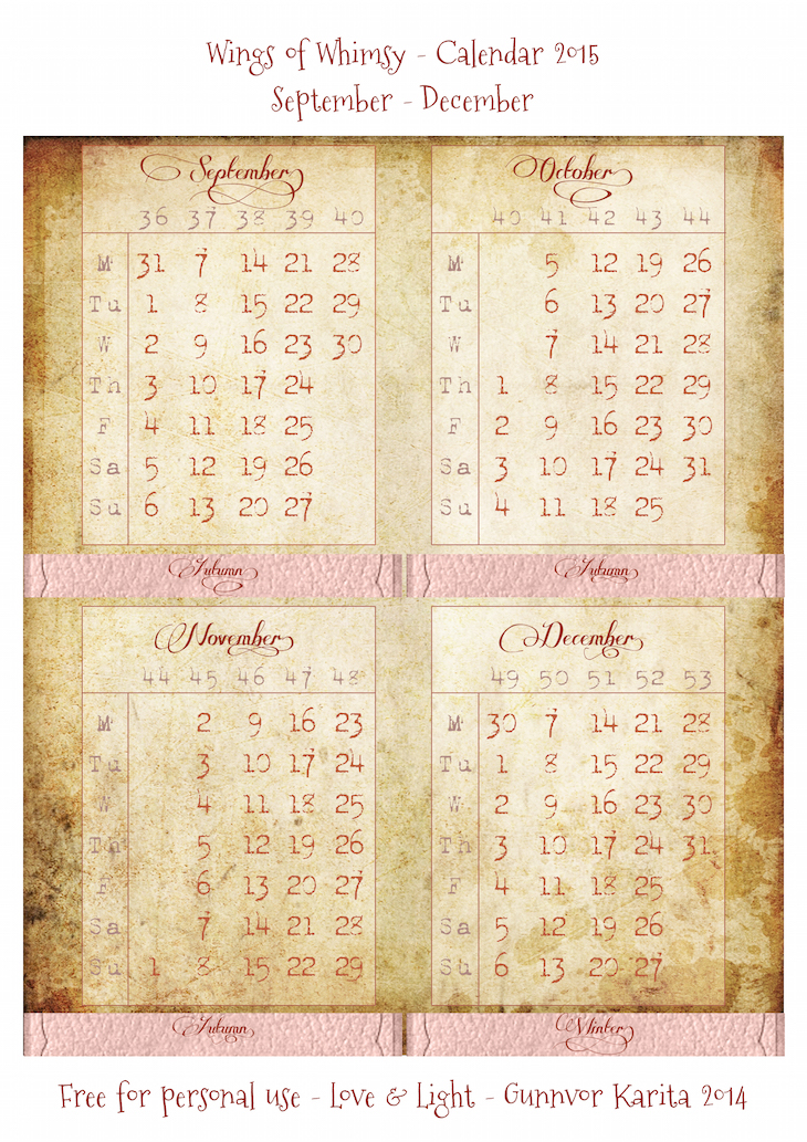 Wings of Whimsy: Calendar 2015 September - December #vintage #victorian #ephemera #freebie #printable #calendar