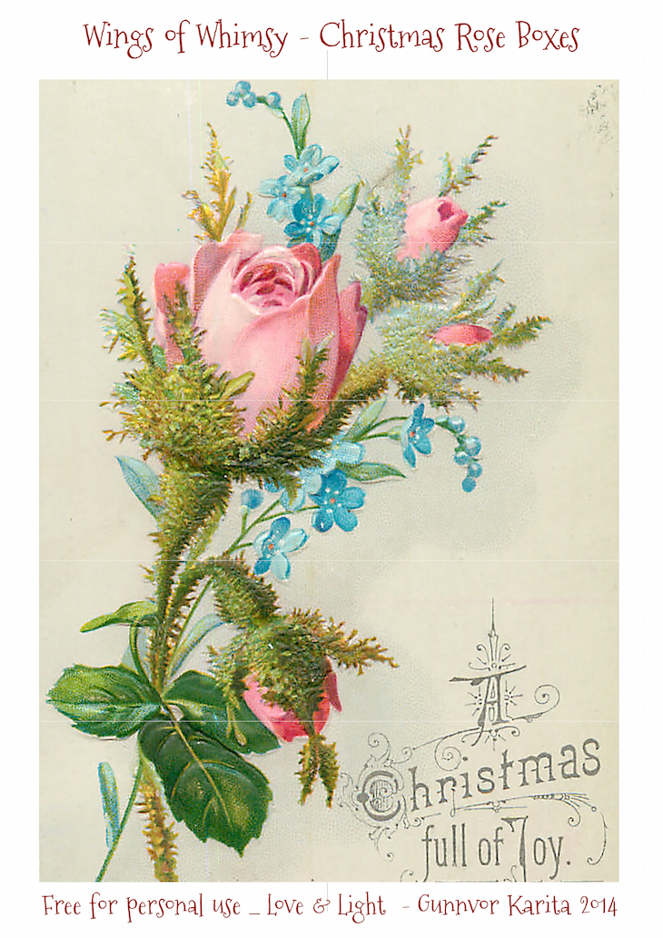 Wings of Whimsy: Christmas Rose Trinket Box #vintage #ephemera #freebie #printable #christmas