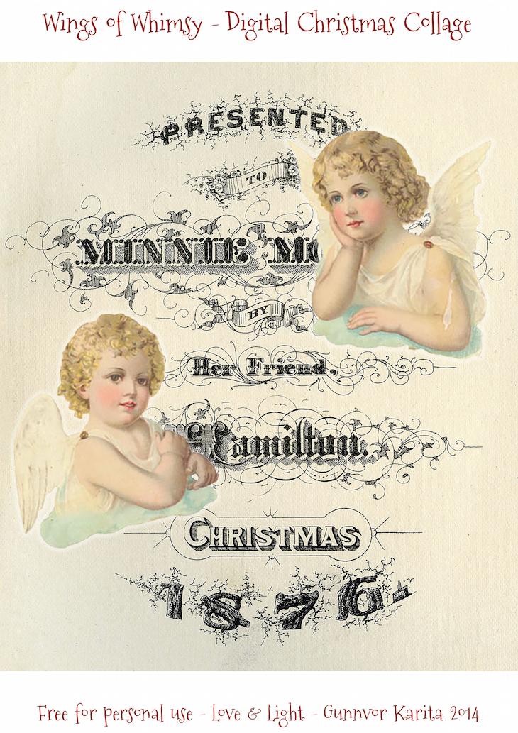 Wings of Whimsy: Vintage Digital Christmas Collage #vintage #ephemera #freebie #printable #typography