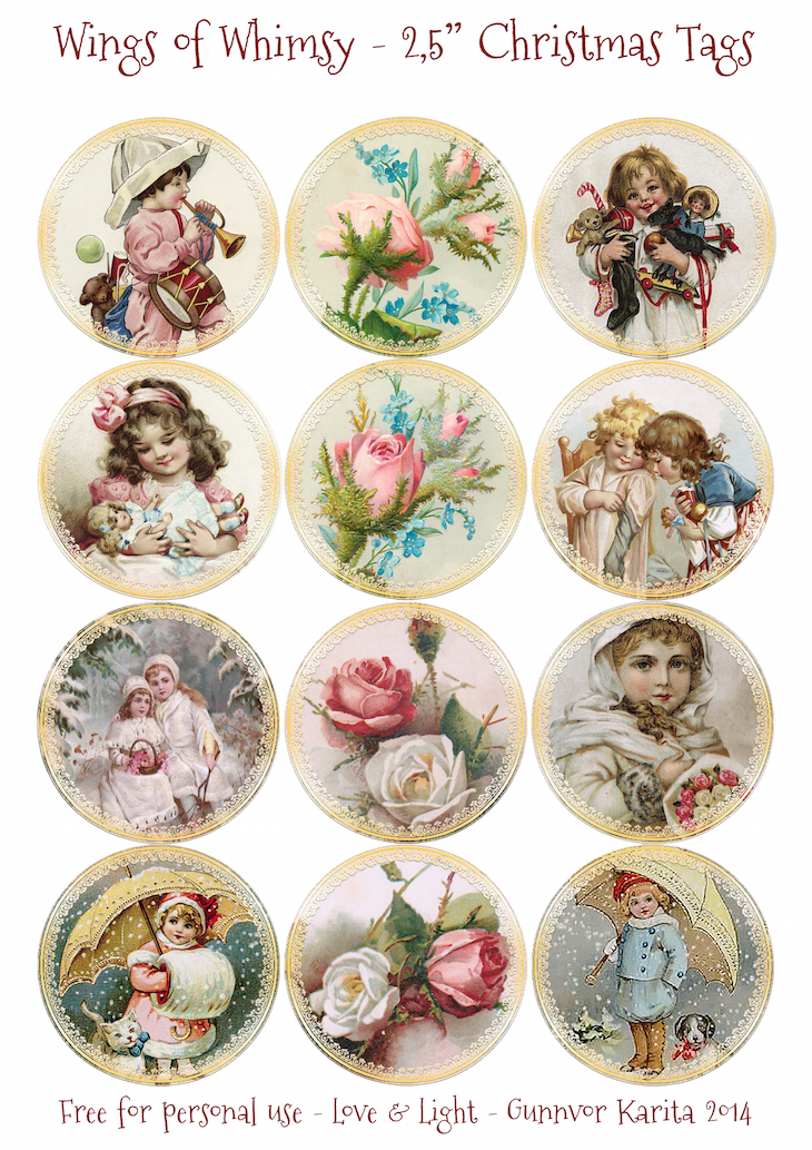 vintage christmas children 25 tags - Children Christmas Pictures 2