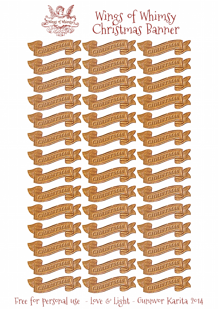 Wings of Whimsy: Golden Christmas Banner Sheet #vintage #printable #ephemera #freebie #victorian #christmas