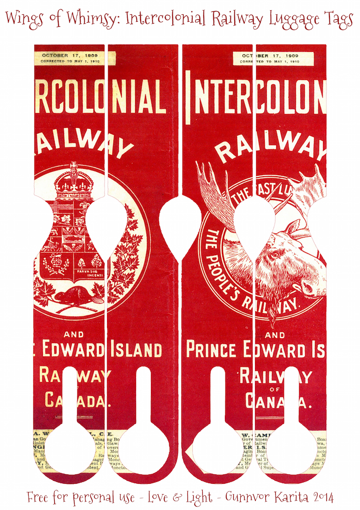 Wings of Whimsy: 1909 Intercolonial Railways Luggage Name Tags #ephemera #vintage #printable #freebie