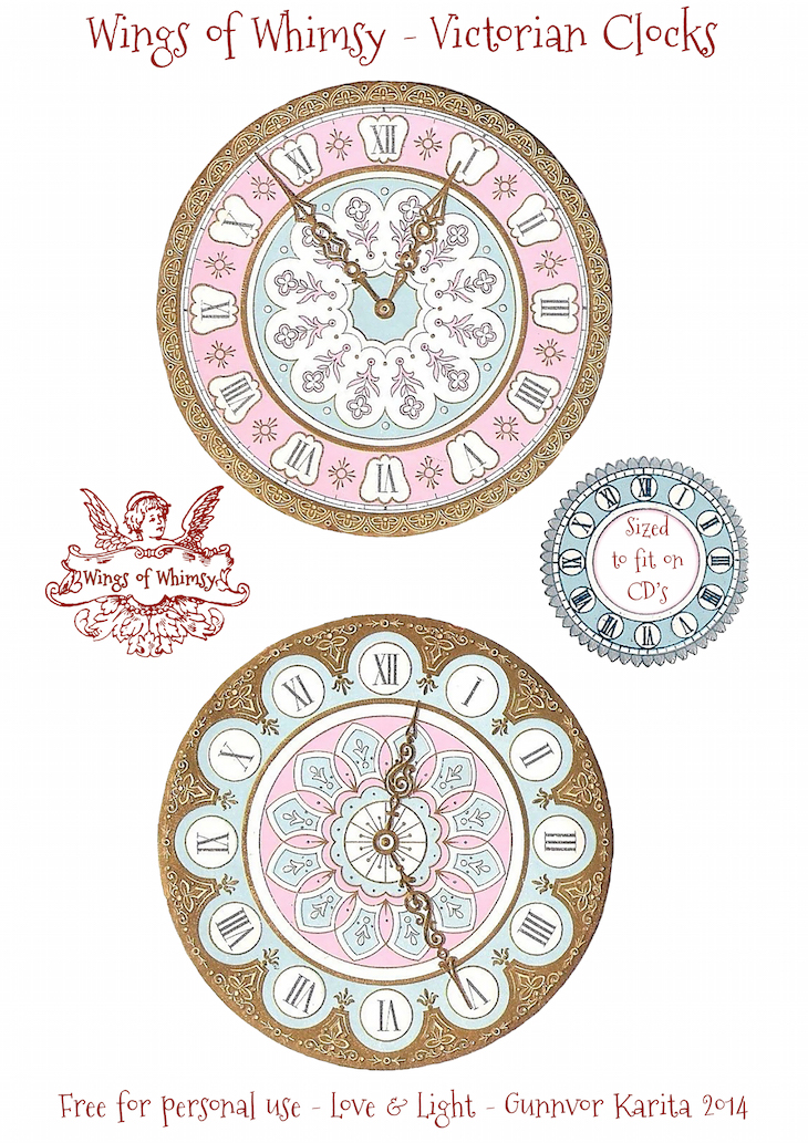 Wings of Whimsy: Victorian Clocks - Sized to fit on CD's #vintage #ephemera #freebie #printable #clock #victorian
