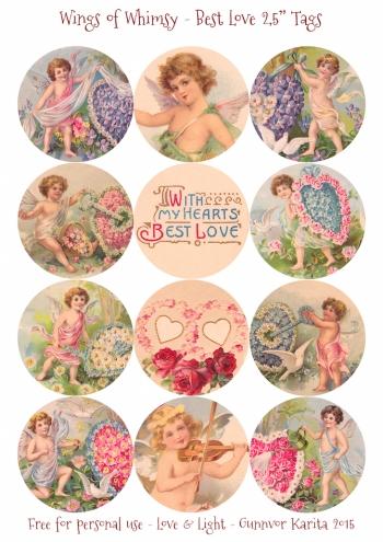 "Wings of Whimsy: Best Love 2,5"" Tags #vintage #ephemera #freebie #printable #cherub #valentine #tag"
