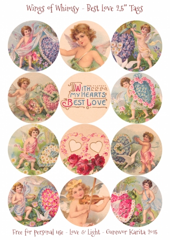 "Wings of Whimsy: Best Love 2,5"" Tags #vintage #ephemera #freebie #printable #cherub #valentine #tag"