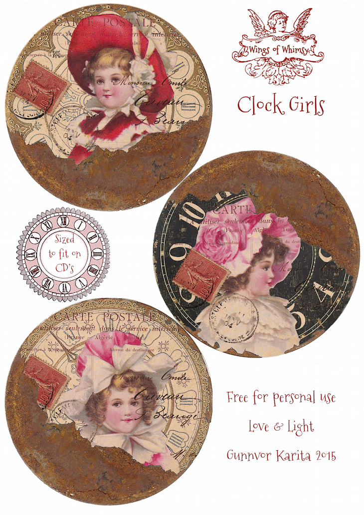 Wings of Whimsy: Clock Girls 120mm (CD size) #vintage #ephemera #freebie #printable #collage #clock
