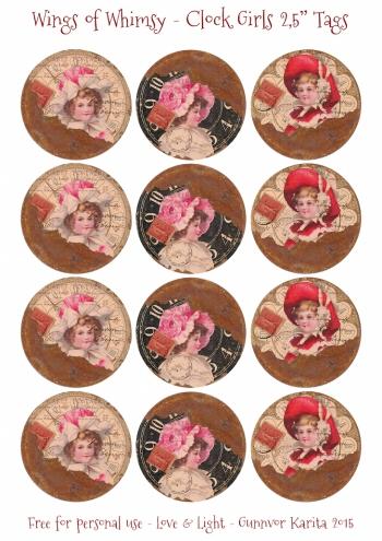 Wings of Whimsy: Clock Girls 120mm (CD size) #vintage #ephemera #freebie #printable #collage #clock