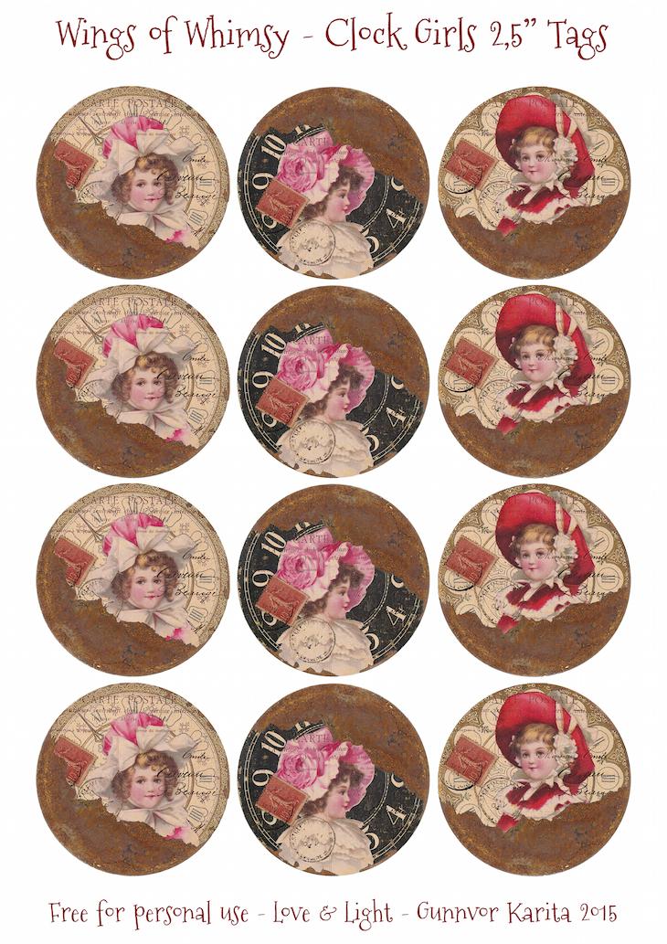 "Wings of Whimsy: Clock Girls 2,5"" Tags #vintage #ephemera #freebie #printable #collage #clock"