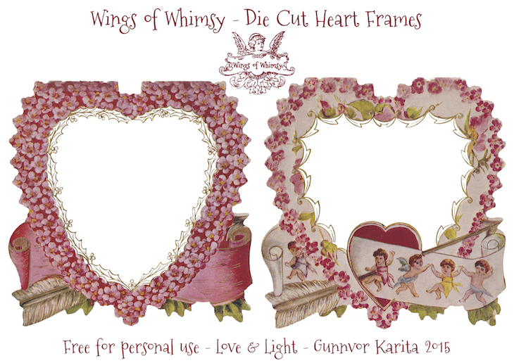 Wings of Whimsy: Die Cut Heart Frames #vintage #ephemera #freebie #printable #valentine