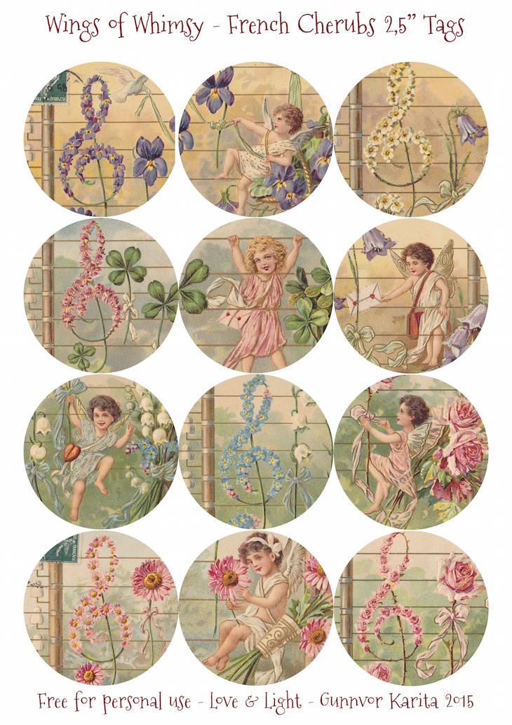 """Wings of Whimsy: French Musicla Cherubs 2,5"""" Tags #vintage #ephemera #freebie #printable #cherub #valentine #tag"""
