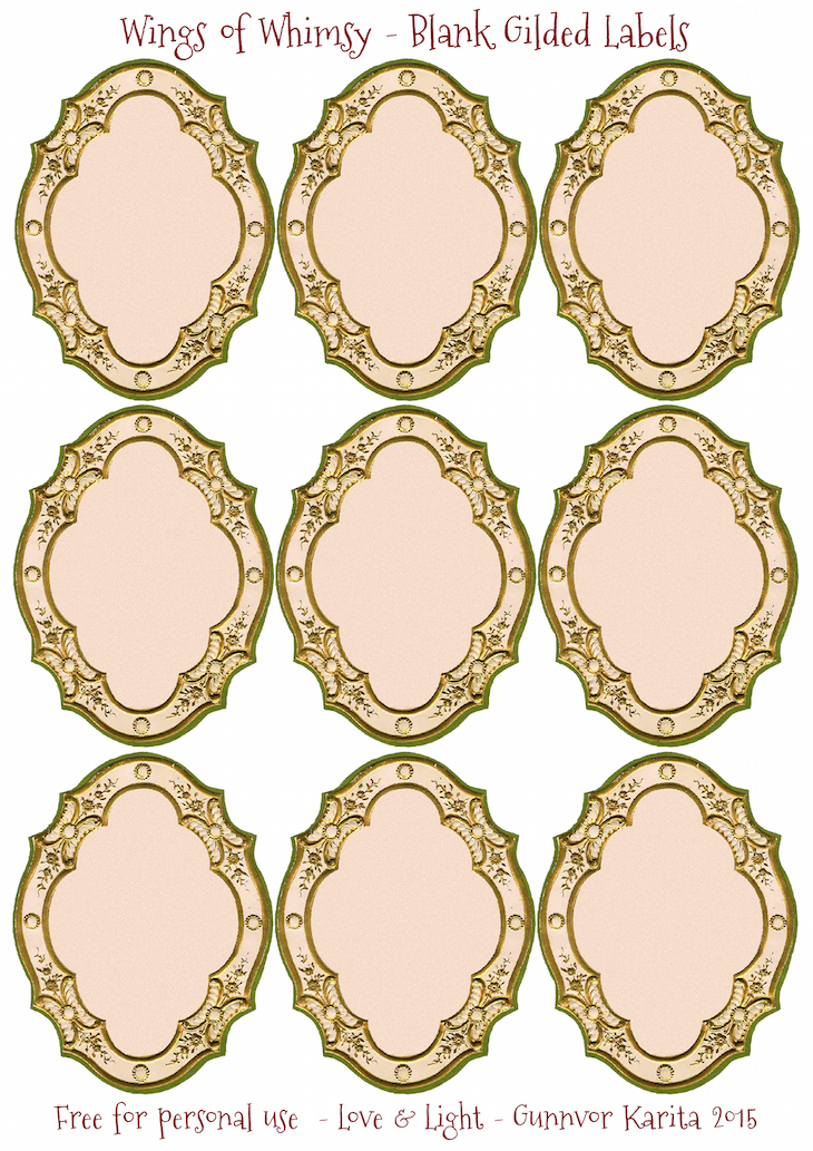 Wings of Whimsy: Gilded Blank Labels Sheet #vintage #ephemera #freebie #printable