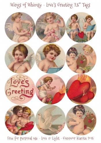 "Wings of Whimsy: Love's Greeting 2,5"" Tags #vintage #ephemera #freebie #printable #cherub #valentine #tag"