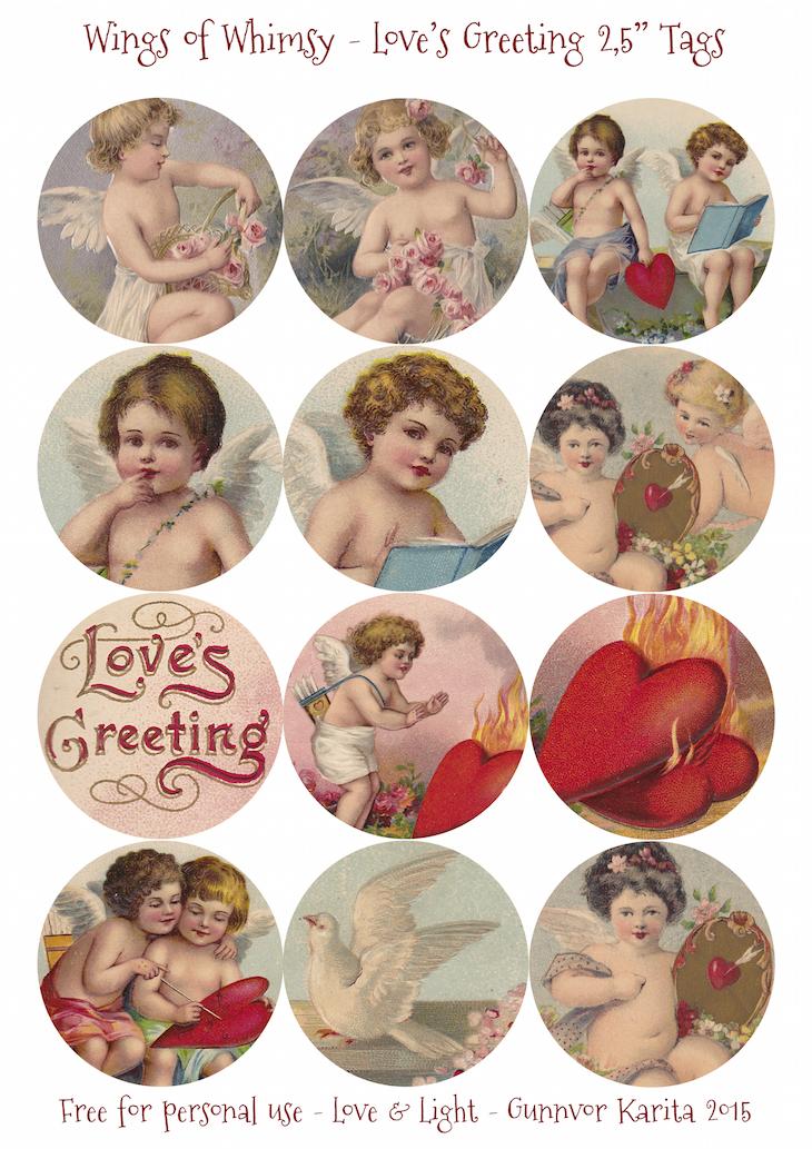 "Wings of Whimsy: Love's Greeting 2,5"" Tags #vintage #ephemera #freebie #printable #cherub #valentine #tag"