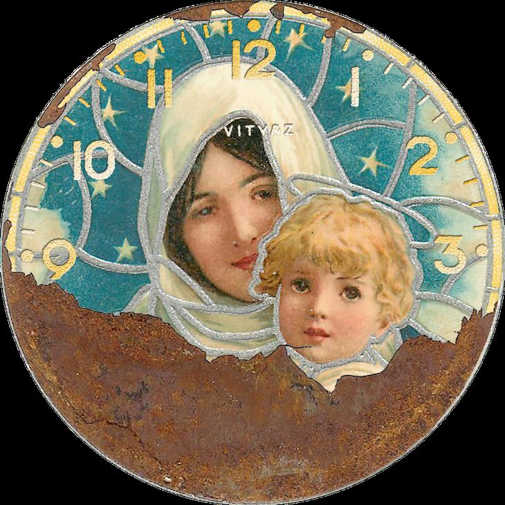 Wings of Whimsy: Vintage Clocks - Madonna & Child #vintage #ephemera #freebie #printable #clock #madonna #child