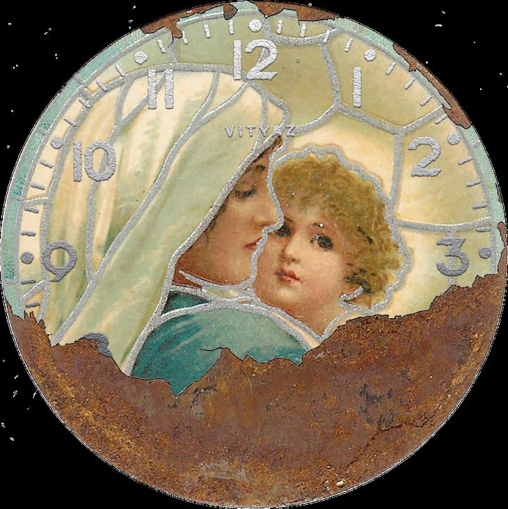 Wings of Whimsy: Vintage Clocks - Madonna & Child #vintage #ephemera #freebie #printable #clock #madonna