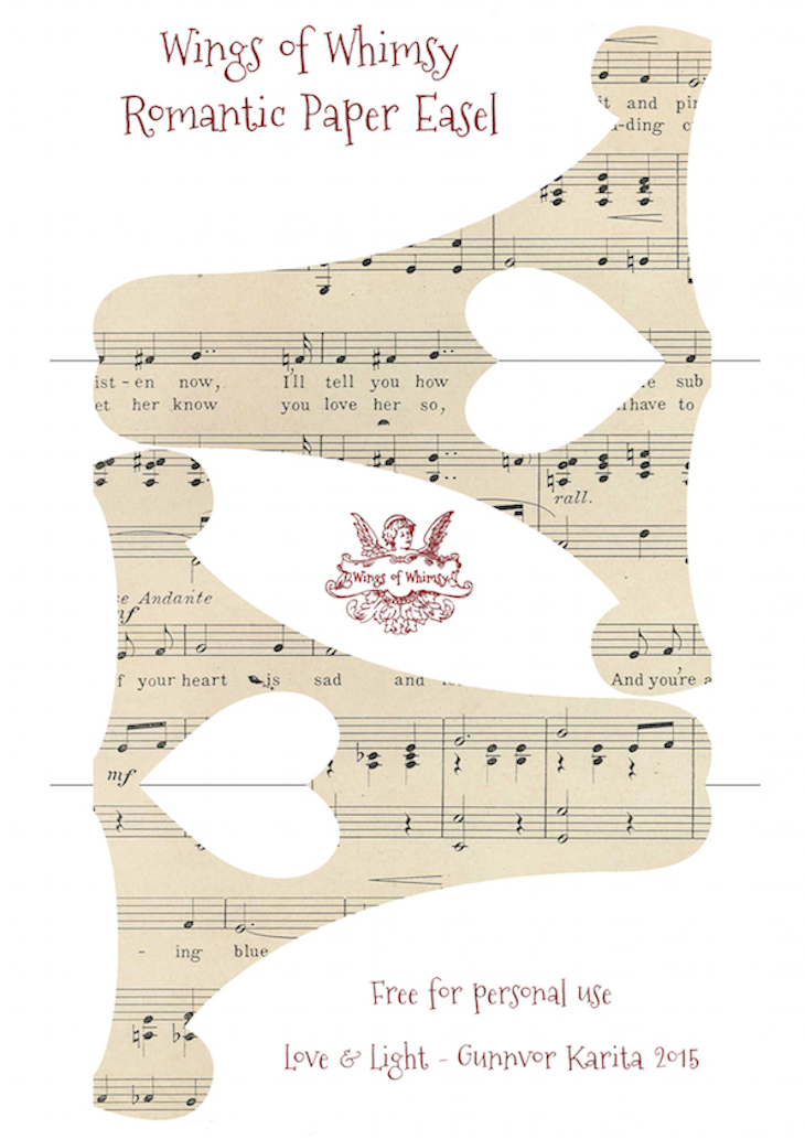 Wings of Whimsy: Romantic Paper Easel #vintage #ephemera #freebie #printable #music