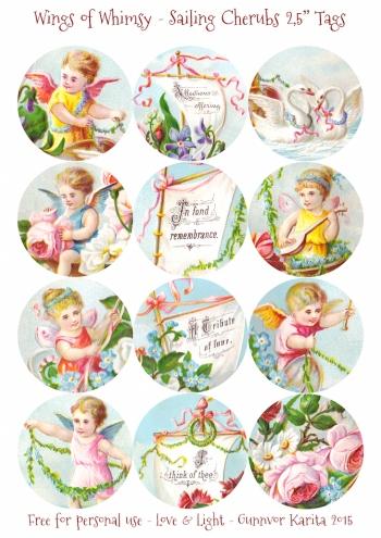 "Wings of Whimsy: Sailing Cherubs 2,5"" Tags #vintage #ephemera #freebie #printable #cherub #valentine #tag"