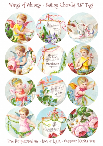 "Wings of Whimsy: Sailing Cherubs 2,5"" Tags #vintage #ephemera #freebie #printable #cherub #valentine #tag"