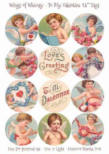 "Wings of Whimsy: To My Valentine 2,5"" Tags #vintage #ephemera #freebie #printable #cherub #valentine #tag"