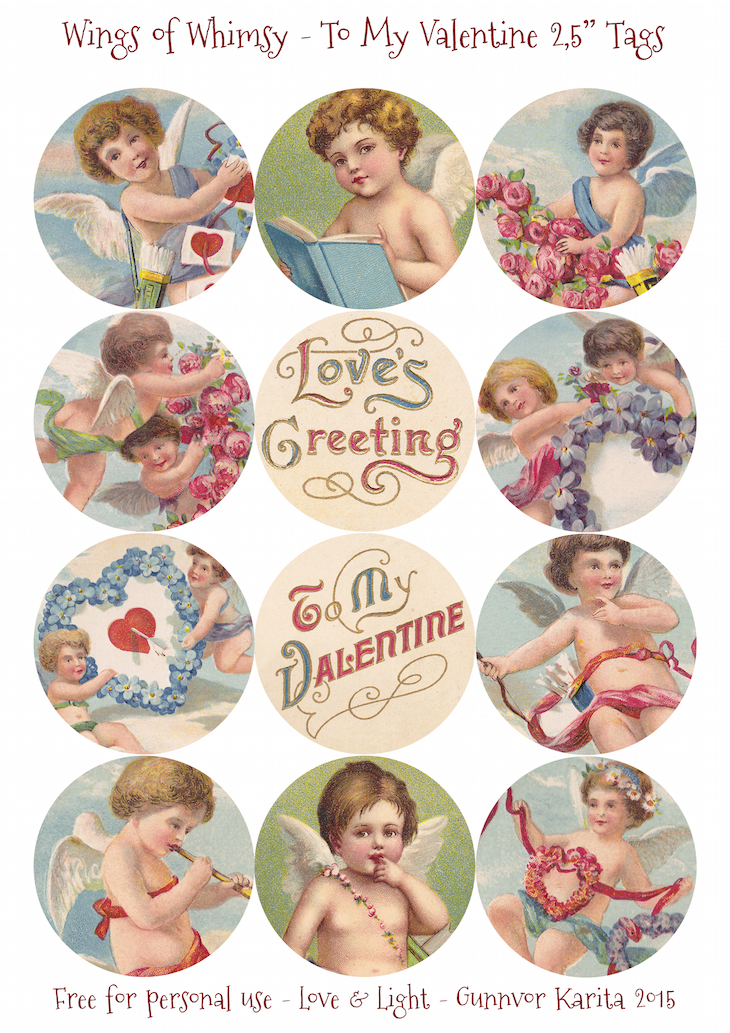 "Wings of Whimsy: To My Valentine 2,5"" Tags #vintage #ephemera #freebie #printable #cherub #valentine #tag"