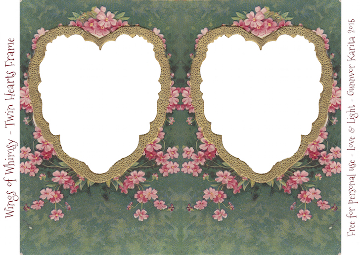 Wings of Whimsy: Die Cut Twin Hearts Frame #vintage #ephemera #freebie #printable #valentine