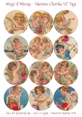 "Wings of Whimsy: Valentine Cherubs 2,5"" Tags #vintage #ephemera #freebie #printable #cherub #valentine #tag"