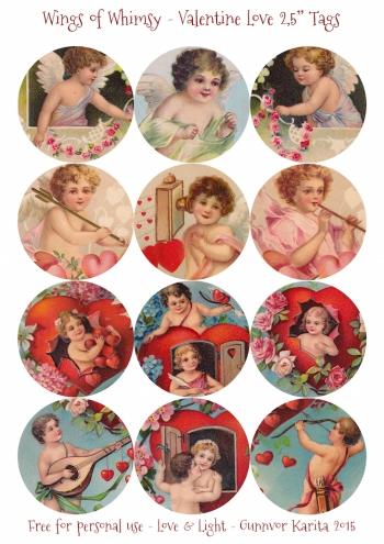 "Wings of Whimsy: Valentine Love 2,5"" Tags #vintage #ephemera #freebie #printable #cherub #valentine #tag"