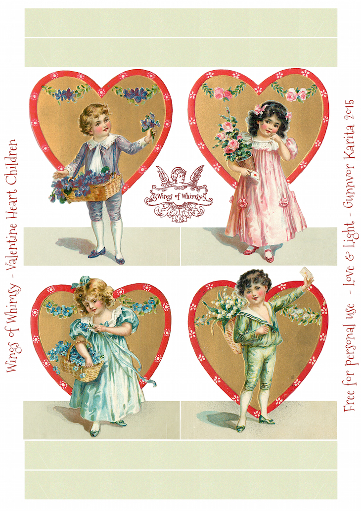 Wings of Whimsy: Valentine Heart Children Place Holders #vintage #ephemera #freebie #printable #vvalentine