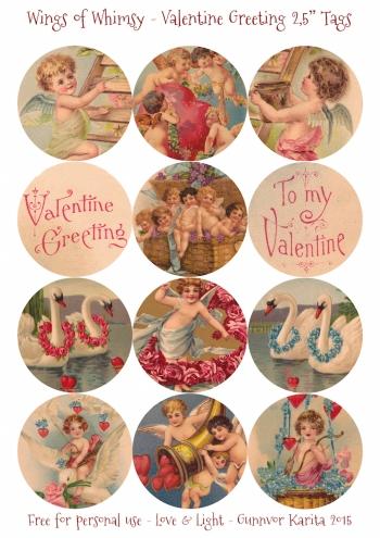 "Wings of Whimsy: Valentine Greeting 2,5"" Tags #vintage #ephemera #freebie #printable #cherub #valentine #tag"