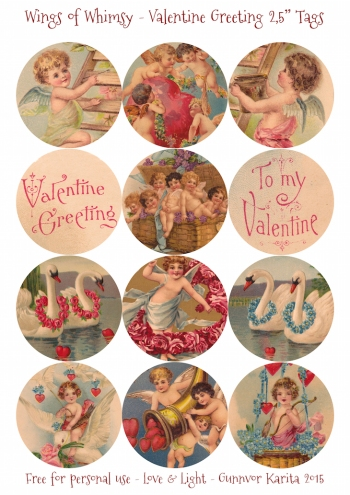 "Wings of Whimsy: Valentine Greeting 2,5"" Tags #vintage #ephemera #freebie #printable #cherub #valentine #tag"