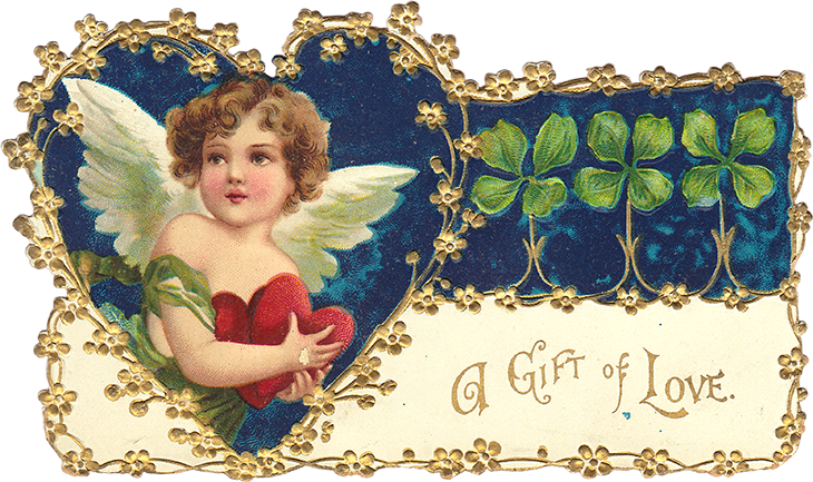 Wings of Whimsy: Clapsaddle Cherub Gift Of Love PNG (transparent background) #vintage #valentine #freebie #printable #cherub #valentine