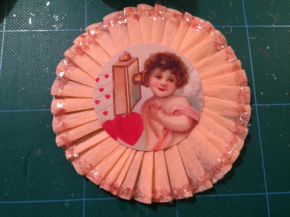 Wings of Whimsy: DIY Valentine Crêpe Paper Rosette Tutorial  #vintage #ephemera #valentine #rosette