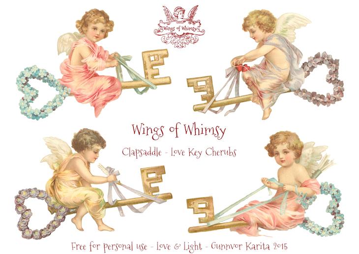 Wings of Whimsy: Clapsaddle Love Key Cherubs #vintage #ephemera #freebie #printable #cherub #valentine