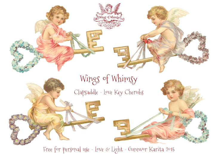 Wings of Whimsy: Clapsaddle Love Key Cherubs #vintage #ephemera #freebie #printable #cherub #valentine