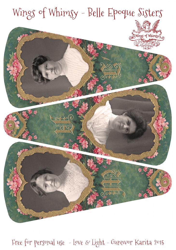 Wings of Whimsy: Belle Epoque Sisters Fan  #vintage #ephemera #freebie #printable #fan