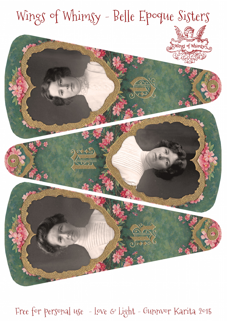Wings of Whimsy: Belle Epoque Sisters Fan  #vintage #ephemera #freebie #printable #fan